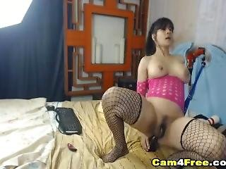 Hardcore Brunette Babe Drilled Dildo On Her Ass Hole