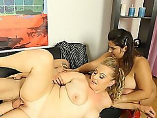 Plump Sluts Sharing Lucky Guy Stiff Cock On Couch