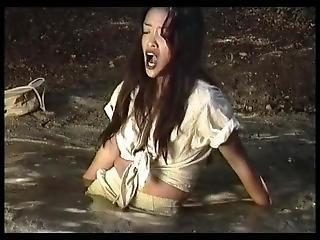 Cute Asian Girl Struggles In Quicksand
