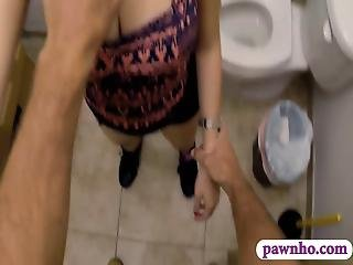 Pretty Girl Sucks Off And Banged In Pawnshops Toilet