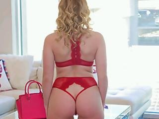 Aubrey Sinclair And Her Red Thong Cuts The Mustard