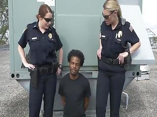Cock Hungry Female Officers Satisfy Criminal Before Throwing Him In Jail