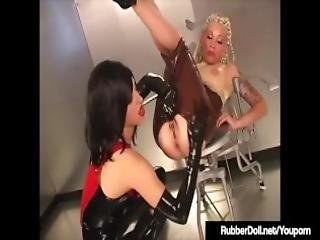 Rubberdoll Rubber Painted Lady Spank Ass Checks In Latex