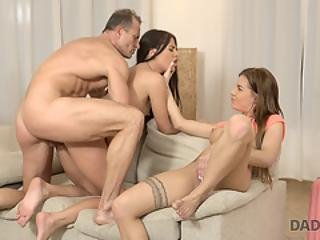 Daddy4k. Amazing Sex Action Of Older Stepdad And Two Young Nymphos