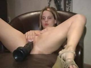 Hot Blonde Amateur Masturbating With A Brutal Dildo