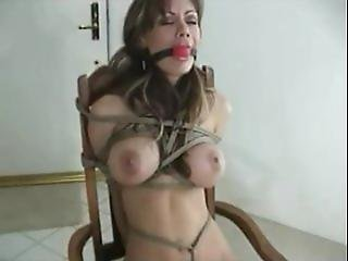 Crissy Moran Chairtied, Ball Gagged & Drooling With Tight Crotch Rope!!!!!!