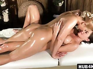 Hot Busty Brunette Babe Comes Comes For A Massage And Gets Her Pussy Satisfied Too