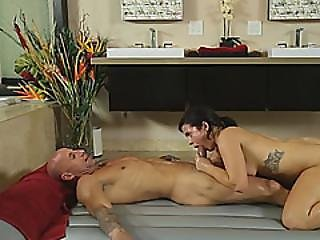Busty Beauty Keisha Grey Massages Guy And Gives Him Deepthroat Blowjob