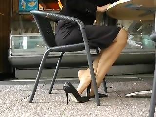 fødder, fetish, fod, tysk, gudinde, offentlig, alene