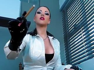 Goddess Latex Gloves And Smoking