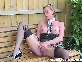 Kinky Milf Holly Kiss Wanks Openly On Public Bench In Nylons Garters Heels