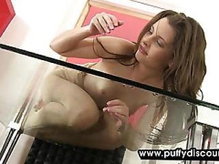 Brunette Chick Uses Toys And Bottles During Solo
