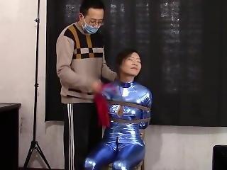 Chinese Shiny Blue Catsuit Bondage