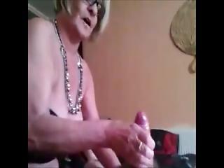 Big Grandma Gives Fast Handjob And Gets Cumshot