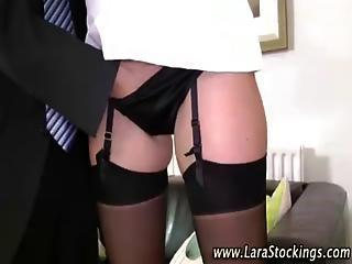 Mature Stocking Slut Sucks Cock