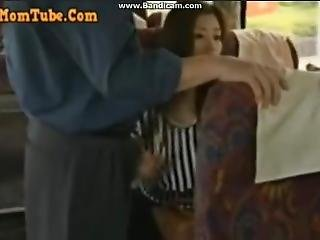 asiat, bus, handjob, japansk, offentlig, teen
