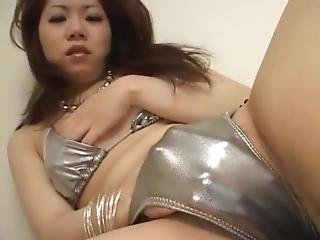 Japanese Doll Inside The Silver Underwear Masturbates