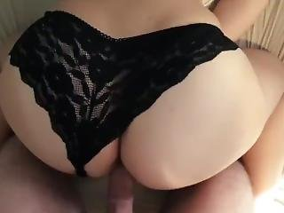 Naughty College Teen In Black Panties Takes My Huge White Cock