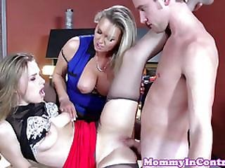 Busty Office Milf Fucking On Table In Trio