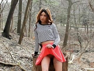 Peach In The Forest, Bts Video Of Autumn On A Public Nudity Photo Shoot.