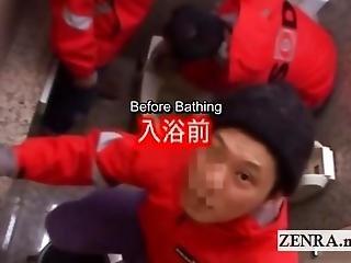 Subtitled Real Japanese Sauna Ladies Authentic Handjobs