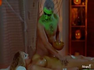 Relaxxxed Busty Hungarian Blonde Covered In Green Oil During Halloween Themed Fuck