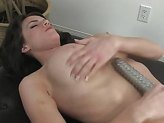 Busty Brunette Rubs Her Juicy Pussy