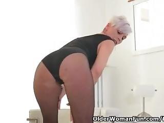 Euro Milf Kathy White Rubs Her Nyloned Pussy