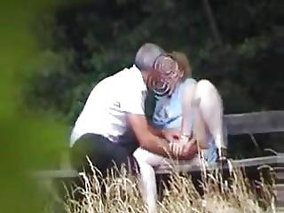 Spy Cam Watched Mature Couple On Park Bench