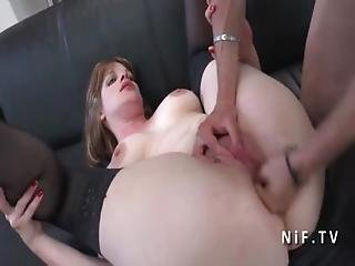 Amateur Chubby French Milf With Big Butt Pussy Gaping And Hard Double Penetrated