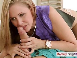 Bigtitted Stepmom Cocksucks In Taboo Threeway