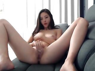 amateur, asiático, chica de cámara, sofá, masturbación, solo, camara del internet
