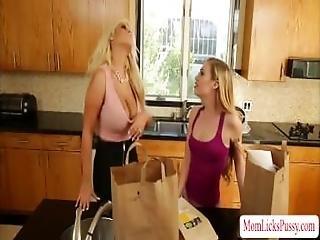 Milf Bridgette Finger Fucks Lyras Teen Pussy In The Kitchen