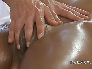 Tanned Euro Brunette Banged After Massage