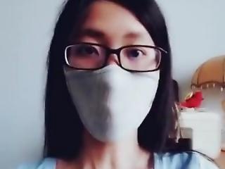 asiatisch, brünette, cosplay, fetisch, maske, Jugendliche, uniform, webkam