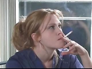 Young Nurse Enjoys Smoking
