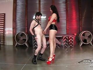 Tall Lady Ballbusting Short Slave