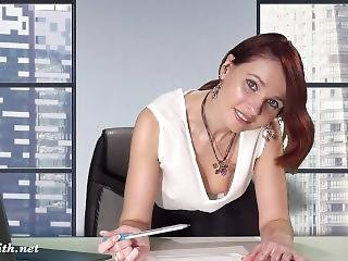 Downblouse At Work — Boss Flashing Her Tits And Pussy