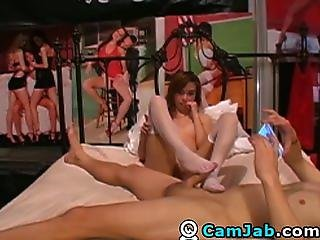 Babe does an Awesome Blowjob and Footjob