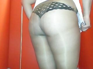 Pantyhose Ass Teasing In Gym Bathroom
