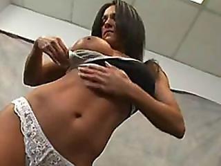 Strong Brunette Slut Gets Double Teamed After Workout Session