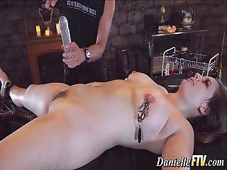 Bound Pornstar Babe Toyed
