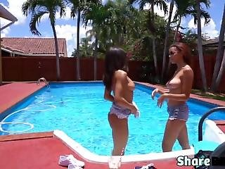Teen Friends Are Having A Fun Time Topless By The Pool When They Decide To Sneak Up On A Sleeping Dude As They Blow Him And Ride His Huge Schlong