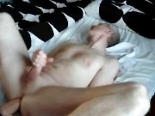 I cum in my own mouth while penetrating my ass with a gigantic dildo