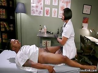 Big Tits Dark Haired Asian Doctor Mia Little In Gloves Wanking Big Black Cock To Her Patient Then In Bondage Anal Fingering Him And Riding