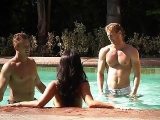 Asa Akira Sucks Cock By The Pool