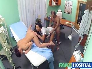 Sexy Nurse Joins The Doctor And The Cleaner For An Amazing Threesome
