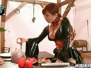 Japanese Dominatrix Abuses Male Slave Humiliates Degrades Him