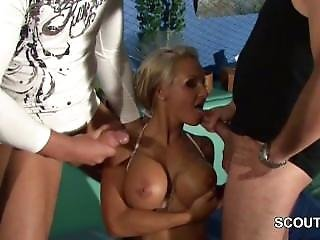 German Pornstar Sexy Cora Sandwich Fucked In Gangbang