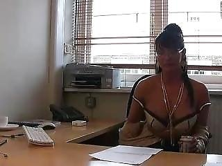 British, Brunette, Desk, Pornstar